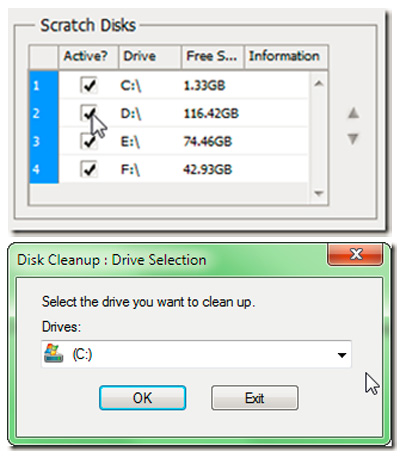 Select the drive to be cleaned